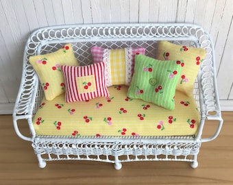 Miniature Bench With Adorable Tiny Cherries Fabric Cushion & 5 Throw Pillows - Perfect For Your Miniature Cottage