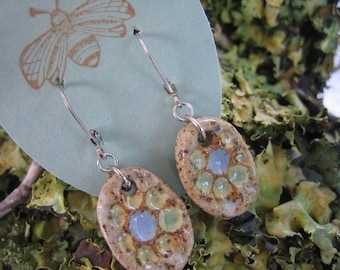Lemonlime and Sky Blue Dots Pottery Earrings by Sweetpea Cottage