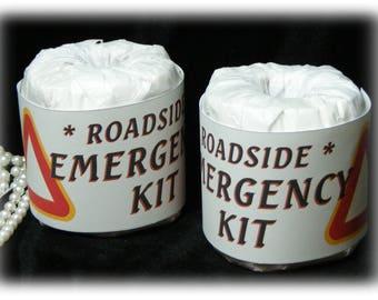 Roadside Emergency Kit . . . GAG TOILET PAPER