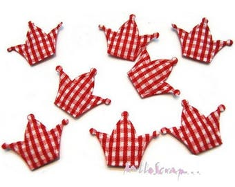 Set of 10 Crowns fabric scrapbooking embellishment red gingham card (ref.310). *.