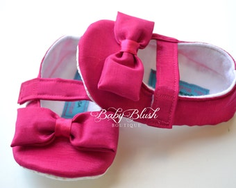 Fuchsia Taffeta  Baby Shoes Ballerina Slippers