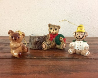 Set of 3 Ceramic Bears / Vintage Christmas Decoration / Holiday Decor / Christmas Tree Ornament / Candleholder / Teddy Bear