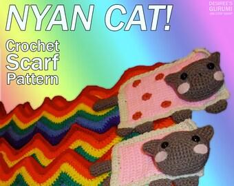 Nyan Cat / Pop Tart Cat Scarf Crochet Pattern - Beginners Difficulty