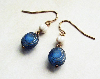 Simplicity Earrings - blue, beige, gold, everyday wear, versatile, for work or for casual