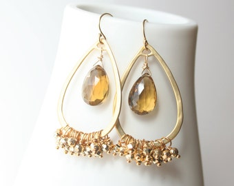 Golden Quartz, Gold Teardrop Earrings, Gemstone Jewelry