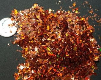 Orange  Holographic Flakes Solvent Resistant Large Flakies Glitter Shreds