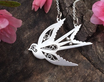 Silver Swallow Necklace, Sterling Silver Swallow Pendant, Swallow Bird Jewelry
