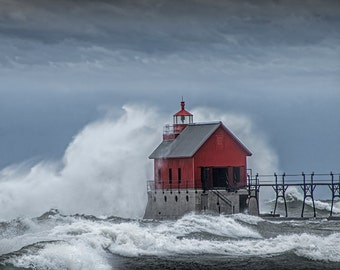 Grand Haven Lighthouse, Red Lighthouse, Michigan Lighthouse, Crashing Waves, Lake Storm, Lake Michigan, Seascape Photograph, Lighthouse Art