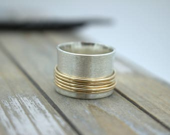 Wide Band Spinner Ring - Sterling Silver Gold Filled - Spinner Ring - Meditation Ring - Gift - Mothers Day