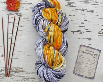Hand painted speckled yarn, Wool and nylon sock yarn, 10 ply aran knitting yarn