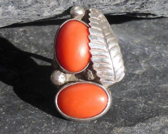 Sterling Silver and Coral Feather Ring, Size 6.5