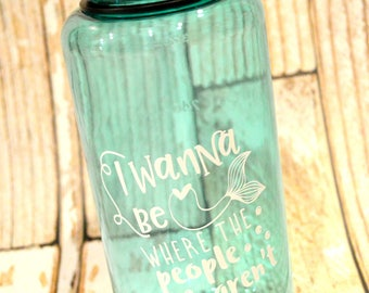 I Wanna Be Where The People Aren't - Funny Mermaid Bottle - Wide Mouth Water Bottle - Gym Rat Gift - Mermaid Gift Ideas - Under The Sea Deco