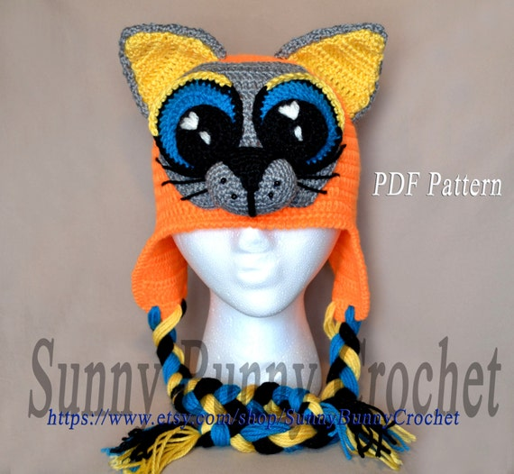 Animal Hat Pattern Crochet Hat Pattern Cat with Big Eyes