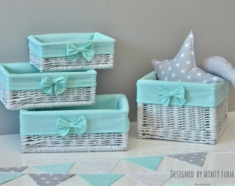 White Natural Wicker Basket With Cotton Lining With Bow Pastel Mint Storage  Baskets Bin Toys Diaper Size S M L XL Baby Nursery
