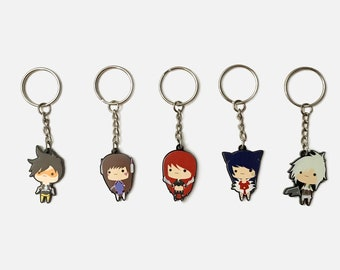 1.5'' League of Legends & Overwatch Chibi Single Sided Black Acrylic Charms With Phone Strap or Keychain, Ahri, Katarina, Riven, Dva, Tracer