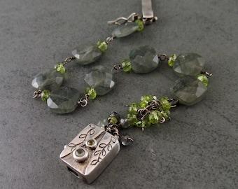 Moss aquamarine and peridot bracelet, handmade sterling silver gemstone jewelry-OOAK August birthstone