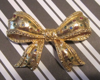 Vintage Gold Bow Brooch With Crystals