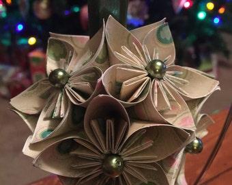 """Handmade """"Girlscout Trefoil"""" Kusudama Flower Origami Ornament"""