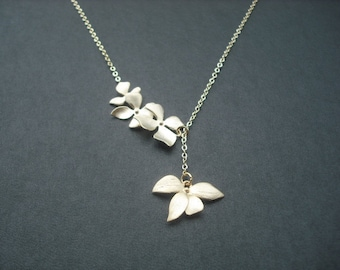 14k Gold Filled - matte gold fourfold wild orchid flowers lariat