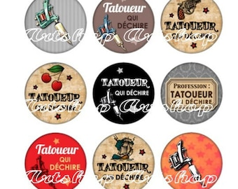 Set of 15 illustrated cabochons 16mm glass Cabochons images tattoo tearing