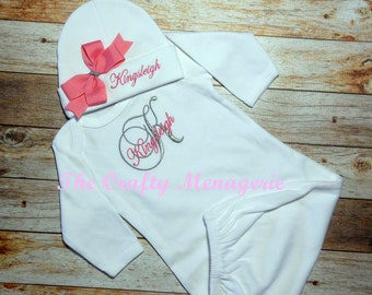 Baby Girl Coming Home Outfit, Baby Girl Coming Home Outfit, Personalized Bodysuit OR Personalized Gown, Optional Hat or Headband