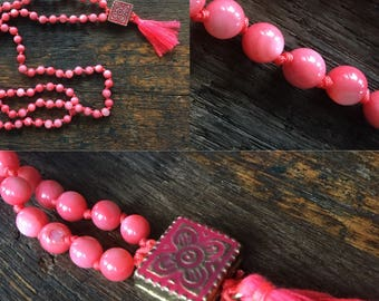 Coral Mala Prayer Necklace with Tassel