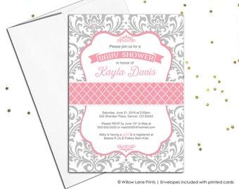 damask baby shower invitation for girls, printable baby shower invitations, pink and gray baby shower invites, printed invites - WLP00778
