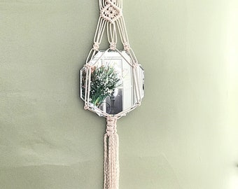 Macrame wall mirror bohemian decor boho chic hanging mirror