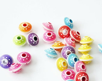 30 Pcs. Colorful UFO Beads