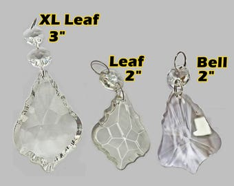 Choice of 3 Leaf or Bell Prisms Bead Chandelier Drops Cut Glass Crystals Antique Vintage Retro Wedding Wishing Tree Christmas Light Droplets
