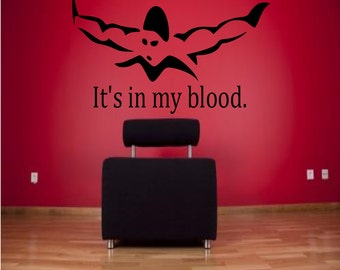 It's in my blood swimming wall decal - sports decal, swimming wall decor, swimming, swimmer decal, swimmer wall decor, swim decor