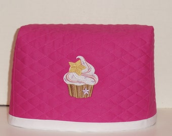 Hot Pink 2 Slice Toaster Cover with Cupcake