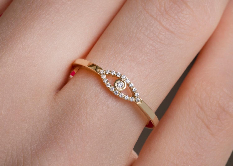 Diamond ring Minimal evil eye Diamond evil eye ring