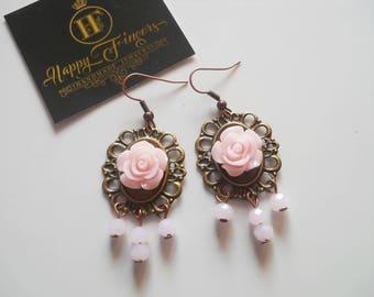 Cameo earrings Victorian earrings Vintage earrings Pink cameo earrings Cameo jewelry Victorian jewelry Vintage jewelry Rose earrings