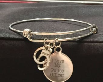 I love my Police Officer Adjustable Bangle Style Bracelet with 2 Charms