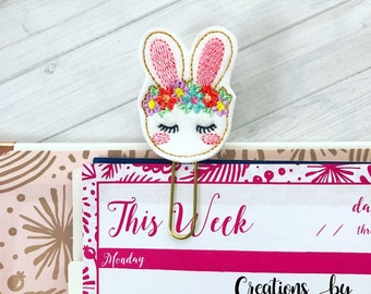 Floral Bunny planner clip - planner accessory -  bookmark - feltie paper clip - planner clip - office supply