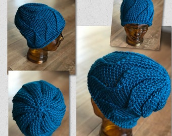 """Winter beanie hat for teen or adult...the """"Geo"""" in crochet"""