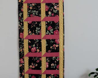 Rose, black and gold floral narrow wall hanging or table runner