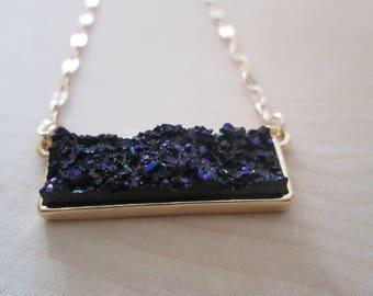 Druzy Bar Necklace - Blue Aurora Borealis