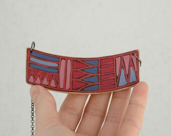 Colorful geometric necklace, wood necklace, unique gift for her, tribal gift for woman, tribal inspired gift, playful ecklectic fun gift