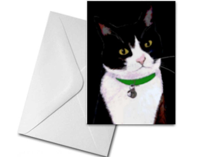 Tuxedo Cat Printed Greeting Card