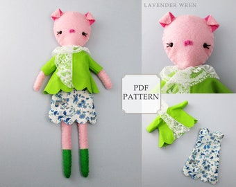 pig sewing pattern, pig pattern, felt sewing pattern, felt toy, piggy pattern, gift for her, sewing pattern, craft pig pattern, pig pdf