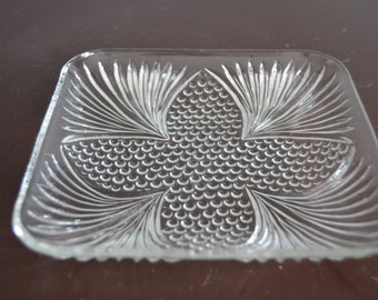 Cut Glass Dish Jewelry Holder Display Dish Serving Relish Tray