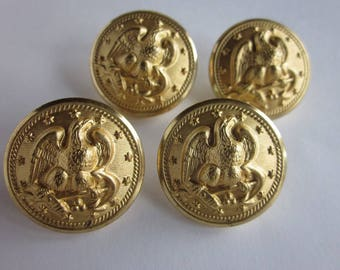 Vintage Lot of 15 Brass Navy Military Buttons Eagle Buttons Waterbury Co's Inc. Vintage Collectible Brass Metal Buttons