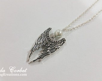 Pearl Angel Wings Necklace