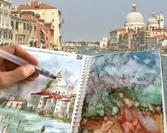 Travel Sketchbook Kit Venice MixnDraw with Ready-Mixed Watercolor Paints on Palette Aqua Brush Coloring Workbook Plein Air Art&Travel DIY