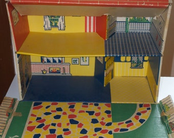 Louis Marx Cardboard Paper Suitcase Dollhouse 1968