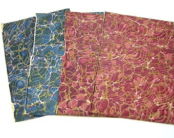 Antique Marbled End Papers For Crafts, Blue and Burgundy