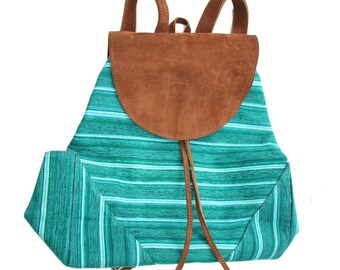 Green Bohemian chic taupe suede and backpack in organic cotton