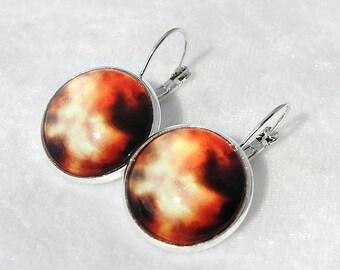 Orange and Black Nebula Earrings, Fantasy Earrings, Space Earrings, Silver Dangle Earrings, Space Jewelry, FantasyArt, Astronomy gifts